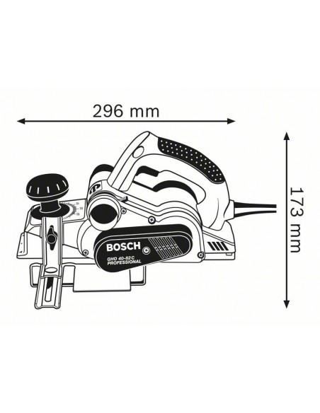 Dimensiones Cepillo portátil para madera BOSCH GHO 40-82 C Professional
